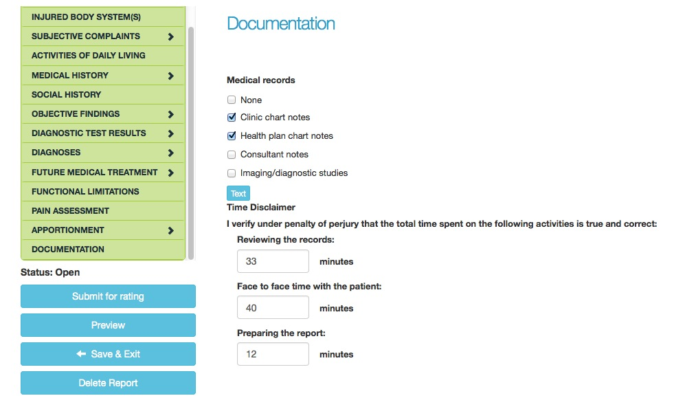 Documentation section