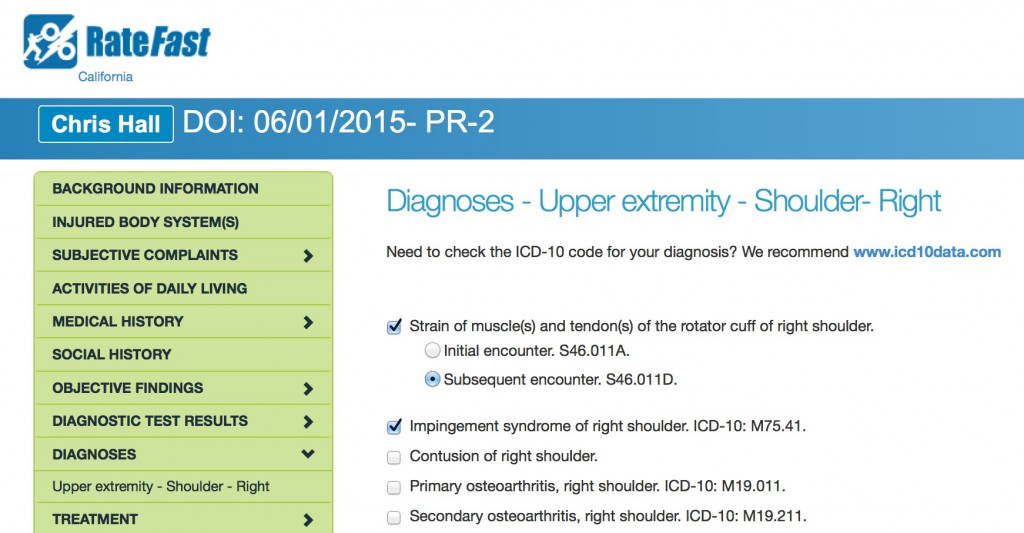 RateFast ICD-10 codes