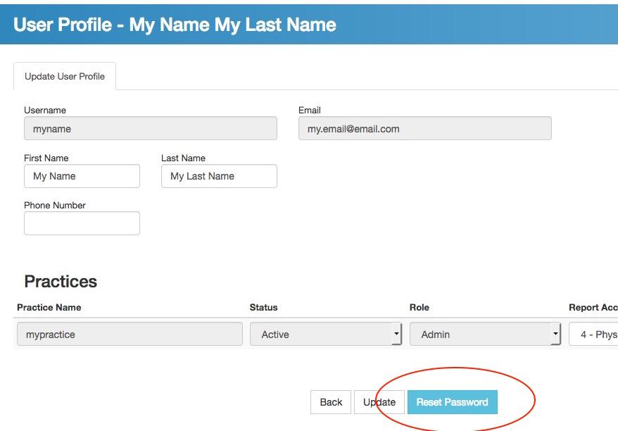 generic user profile - reset pass