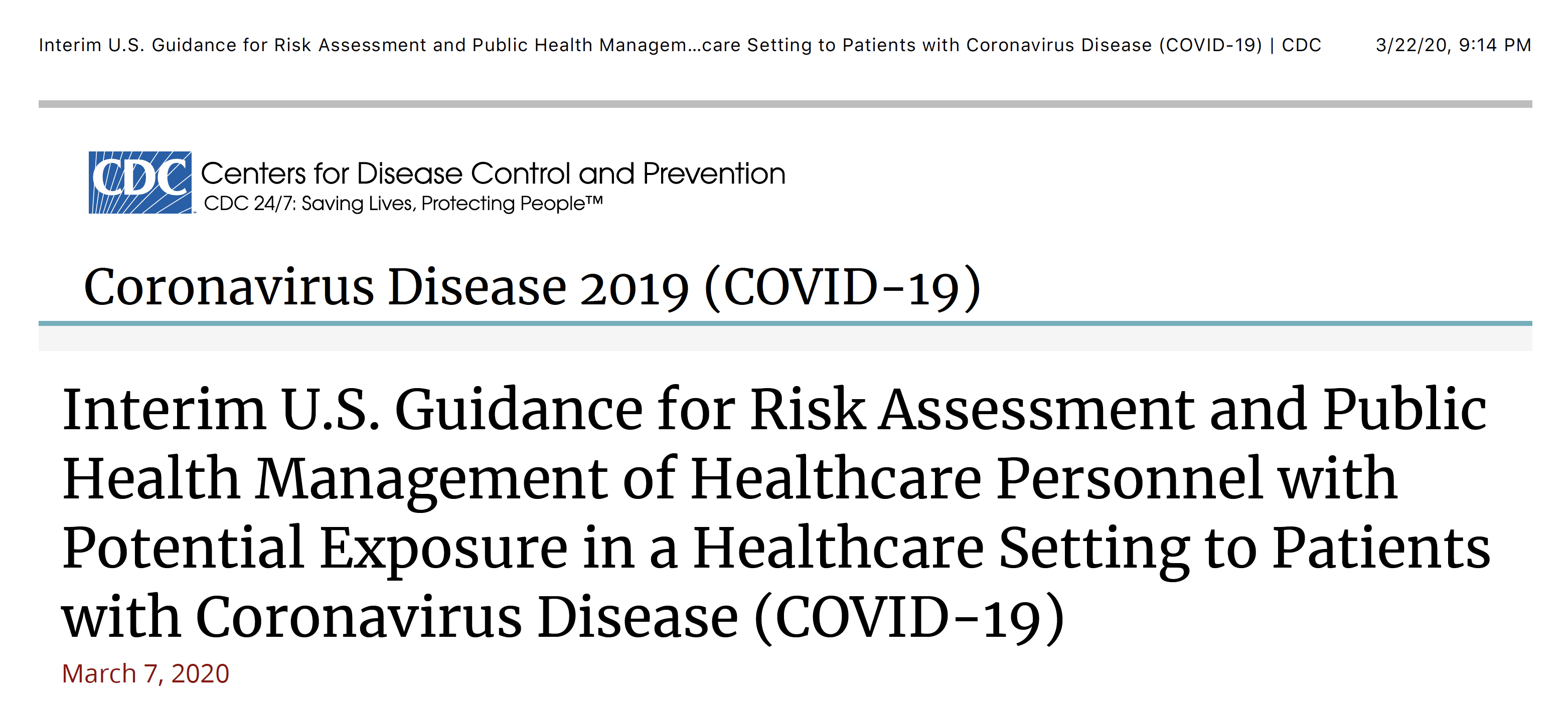 COVID-19: The 3 Exposure Levels of Risk for Healthcare Personnel According to the CDC